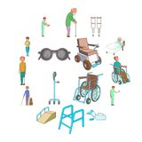 Disability people care icons set, cartoon style. Disability people care icons set. Cartoon illustration of 16 disability people care vector icons for web Stock Photography