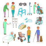 Disability people care icons set, cartoon style Royalty Free Stock Photo