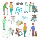 Disability people care icons set, cartoon style. Disability people care icons set. Cartoon illustration of 16 disability people care vector icons for web Royalty Free Stock Photo