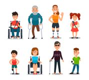 Disability people. Cartoon sick and disabled characters. Person in wheelchair, injured woman, elderly man and sickness. Disability people. Cartoon sick and Royalty Free Stock Photos