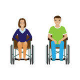 Disability people man and woman in wheelchair. Invalid male and female isolated on a white background. Stock Image