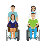 Disability people in wheelchair with a hospital stuff. Disabled man and woman with medical employee. Stock Photography