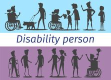 Disability Person Silhouettes Illustrations Set. Disability people on wheelchairs, blind man with dog, sportsmen with prostheses and woman with cane silhouettes Royalty Free Stock Photos
