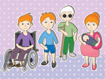 Disability Peoples Set_eps. Illustration of disability peoples, old or blind and pregnant woman set on loves pattern. --- This .eps file info Version stock illustration