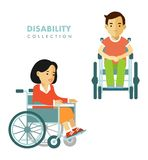 Disability person concept. Disability people set. Royalty Free Stock Photos