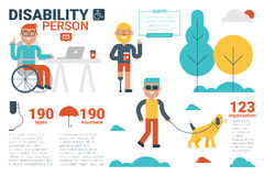 Disability person concept. Illustration of disability person infographic concept with icons and elements Stock Photos
