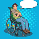 Disability Person. Happy Handicapped Boy Sitting in Wheelchair. Pop Art illustration Stock Image