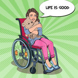 Disability Person. Happy Little Girl Sitting in Wheelchair. Pop Art illustration Royalty Free Stock Photography