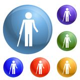 Disability person and healthy kid icons set vector royalty free illustration