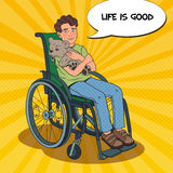 Disability Person. Smiling Boy Sitting in Wheelchair. Pop Art illustration Stock Image