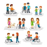 Disability person vector flat. Young disabled people and friends helping them. Disabled man and woman in wheelchair, blind with stick and guide dog isolated on Royalty Free Stock Photos