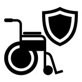 Disability protection icon, simple black style. Disability protection icon. Simple illustration of disability protection vector icon for web Royalty Free Stock Image