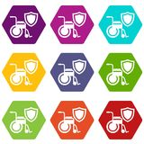 Disability protection icons set 9 vector. Disability protection icons 9 set coloful isolated on white for web Stock Photos