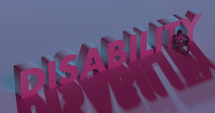 Disability - red lettering text near sad man, 3d render Royalty Free Stock Image