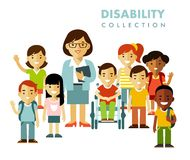 Disability school children friendship concept Stock Images