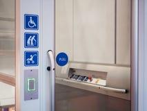 Disability signage lift facility Public accessibility. Disability lift facility Priority Public accessibility Universal design Stock Image