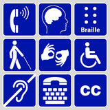 Disability Symbols And Signs Collection Stock Photo