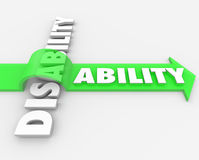 Disability Vs Ability Overcoming Physical Handicap. A positive attitude and determination can help you overcome your disability and turn a challenge, obstacle or stock illustration