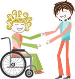 Disability in wheelchair Stock Images
