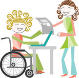 Disability and work. A person with a disability in a wheelchair rolling work with a person standing Royalty Free Stock Image
