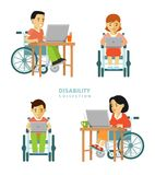 Disability worker people set Stock Photos