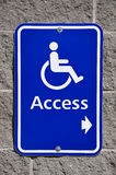 DISABLE ACCESS SIGN. On wall Stock Photography