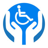 Disable care. Illustration of disable care concept on white background Stock Photos