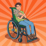 Disable Child. Handicapped Boy Sitting in Wheelchair. Pop Art illustration Royalty Free Stock Photography