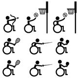 Disable Handicap Sport icons, archery, basketball, tennis Royalty Free Stock Images