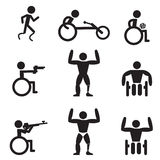 Disable Handicap Sport icons, runner, bodybuilding, shooting Royalty Free Stock Photos