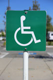 Disable parking sign. Close-up of a parking sign for disable people Stock Image