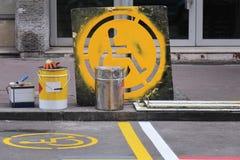 Disable parking sign Stock Photos