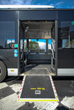 Disable ramp on bus. For elderly and disabled people Stock Images