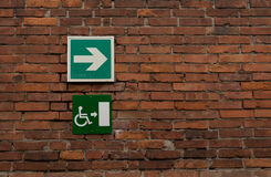 Disabled signs posted. Disabled access sign - urban symbol royalty free stock photos