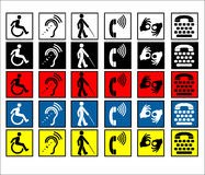 Disabled Assistance Signs. Public information signs showing that help and assistance is available for the disabled with sight, mobility and hearing difficulties Stock Image