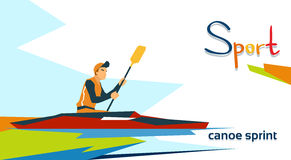 Disabled Athlete Canoe Sprint Sport Competition. Flat Vector Illustration Stock Photography