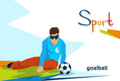 Disabled Athlete Play Goal Ball Sport Competition. Flat Vector Illustration Stock Photography