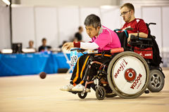 Disabled athlete plays Bocce  Stock Images