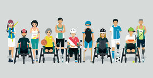 Disabled athlete. In a sports suit with a gray background royalty free illustration