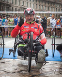 Disabled athlete taking part in Stramilano Royalty Free Stock Images