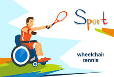 Disabled Athlete On Wheelchair Play Tennis Sport Competition Stock Photo