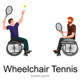 Disabled Athlete On Wheelchair Play Tennis Sport Competition Vector Stock Photos