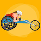 Disabled Athlete On Wheelchair race Track Sport Competition Vector Stock Images