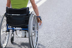 Disabled athlete with the wheelchair during a sports competition Royalty Free Stock Photos