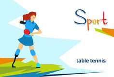 Disabled Athlete Woman Play Table Tennis Sport Competition Royalty Free Stock Photography