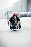 Disabled athlete at Wroclaw Marathon Royalty Free Stock Photo
