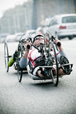 Disabled athlete at Wroclaw Marathon royalty free stock image