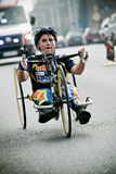 Disabled athlete at Wroclaw Marathon Royalty Free Stock Photos