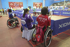 Disabled athletes. The coach was giving advice to athletes with disabilities before competing in Karanganyar Central Java, Indonesia Stock Photography