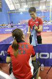 Disabled athletes. The coach was giving advice to athletes with disabilities before competing in Karanganyar Central Java, Indonesia Royalty Free Stock Images